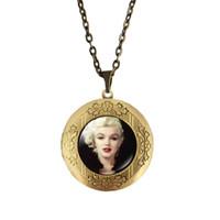 Wholesale Mix Vintage Necklaces - (12 Pieces Lot) Mix Cabochon Marilyn Monroe Audrey Hepburn Women Necklace Vintage Photo Locket Pendant Necklace