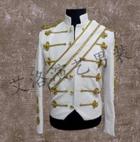Wholesale Dance Suit Men - men suits designs stage costumes for singers men sequin blazer dance clothes jacket style dress punk rock fashion white black