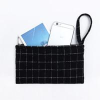 Wholesale wool pouches - Wholesale- New Plaid wool coin holder zipper pocket pouch wallet kids small womens purses mini bag kawaii makeup purse bolsos mujer cartera