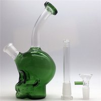 Wholesale function skull - Authentic Skull Glass Bong with bowl and downstem dome Oil Rigs Water Bongs for Smoking beaker Pipes Hookah white green heady Two functions