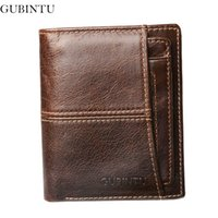 Wholesale Car Rfid Card - GUBINTU 100% Genuine Leather Wallet Men High Quality Travel Male Purse Rfid Card Holder European Car-Covers-- BID188 PM49
