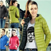 Wholesale Thin Down Jacket Women Green - 5 color winter women's down jacket 2018 Europe and the United States long-sleeved cap thin cotton jacket short female H44