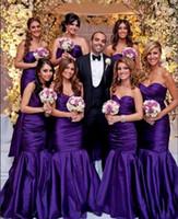 robe demoiselle d'honneur plissée violet achat en gros de-Date Chérie Cou Sirène Longue Robes De Demoiselle D'honneur De Longueur De Plancher Pourpre Plis Robes De Soirée Robes De Robe Robe De La Dama De Honor