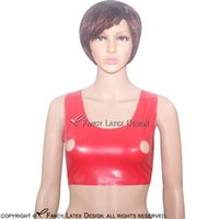 0e4f3b6088 Red Sexy Latex Bra Buttons At Back Fetish Rubber Crop Top Bras Lingerie  brassieres Hot Sales BRA-0001