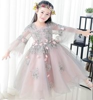 Wholesale Embroidery Piano - Retail Girls Princess Dress Embroidery Long Sleeve Ball Gown For Wedding Party Long Length Piano Performance Dress Y144