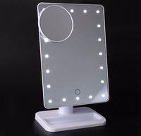 siyah ledli masa lambası toptan satış-2018 yeni gelenler LED Kozmetik Ayna Büyük Masa 20 LEDs Lamba Aydınlık Kare Makyaj LED Ayna Siyah Beyaz Pembe