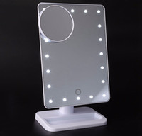 Wholesale Wholesale Makeup Tables - HIGH quality LED Cosmetic Mirror Large Table 20 LEDs Lamp Luminous Square Makeup LED Mirror Black White Pink