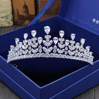 Wholesale Custom Crystal Ornaments - Full zircon bride hair ornaments high wedding crowns high - end custom micro - inlaid crown wedding dress accessories
