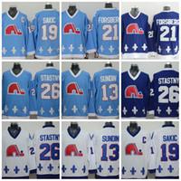 Wholesale Quebec Nordiques - 2017 NHL Quebec Nordiques #19 Joe Sakic 21 Forsberg 26 Stastny 13 Sundin 32 BROUSSEAU White Drak Light Blue Hockey Jersey Stitched Mix Order