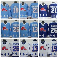 Wholesale 19 lights - 2017 Quebec Nordiques Joe Sakic Forsberg Stastny Sundin BROUSSEAU White Drak Light Blue Hockey Jersey Stitched Mix Order
