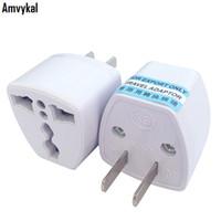 adaptadores elétricos universais venda por atacado-Amvykal Alta Qualidade Carregador de Viagem AC Energia Elétrica UK AU UE Para EUA Plug Converter Converter EUA Universal Plug Power Adapter Conector