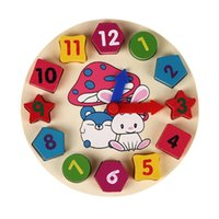 Wooden 12 Number Colorful Puzzle <b>Digital Geometry Clock</b> Baby Educational Wooden Clock Toy Kids Children Toys Gifts