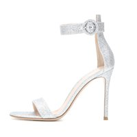Wholesale Womens Glitter Sandals - Zandina Ladies Womens Handmade Fashion 10cm DIANVITO BOSSI Metalltc Ankle Strap High Heel Leather Sandals Shoes Silver-Glitter