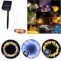 dış mekan yılbaşı dekorasyonları güneş aydınlatma toptan satış-Led Güneş Işık Açık Solar Lamba Dize Işıklar 10 m 33Ft 100 Leds Bahçe Işık Yıldızlı Noel Dekorasyon Noel Peri Işıkları