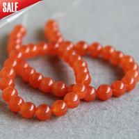 Wholesale Silver Red Jasper - Hot Sale 8mm Fashion New Orange crystal jade beads stones round beads DIY Jasper beads 15inch Jewelry making design wholesale