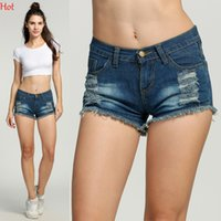 Wholesale Summer Shorts For Ladies - Ripped Denim Shorts S-XL Female Short Jeans for Women 2017 Summer Ladies Shorts Low Waist Tassel Hole Blue Jeans Shorts Hot Sale HotSV002873
