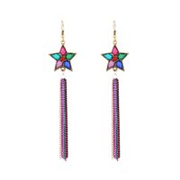 Wholesale Long Cheap Earrings - New Bohemian Jewelry Tibetan Style Star Charm Chandelier Earrings Long Tassel Drop Dangle Chain Earring Ear Hook Retro Cheap Fashion Jewelry