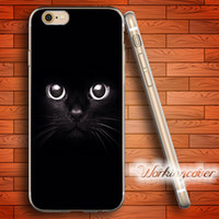 Wholesale Cat Iphone 4s Cases - Capa Luxury Black Cat Soft Clear TPU Case for iPhone 7 6 6S Plus 5S SE 5 5C 4S 4 Case Silicone Cover.