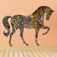 Wholesale horse housing - Wholesale- Creative Colorful Animal Horse Wall Sticker Mural Art House Decorative Vinyl Bedroom Room Home Decor 1pcs