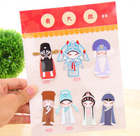 Wholesale Suit seven new creative Chinese wind bookmarks Chinese Traditional Classical Style Peking Beijing Opera Paper Clips Bookmarks