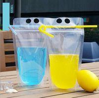 Wholesale Transparent Food Bag - 450ml Transparent Self-sealed Plastic Beverage Bag DIY Drink Container Drinking Bag Fruit Juice Food Storage Bag 2000pcs OOA2119