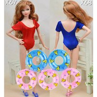 Wholesale Bikini Sexy Doll - Dolls Accessories 5pcs Swimming Buoy Lifebelt Ring & 2pcs Sexy Swimwear Swimsuits Bikini For Barbie Dollhouse Baby Girl Toys