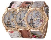 Wholesale Beautiful Lady Fashion Dress - wholesale fashion women ladies flower love printing leather watch beautiful casual lady eiffel tower diamond dress quartz watch