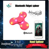 Wholesale Stockings For Kids - Newest Stock Bluetooth LED Handspinner Stress Reducer Fidget Spinner Tri Fidget Focus Toy EDC For Killing Time For Kids Adults DHL Free Ship
