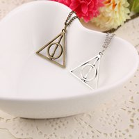 Wholesale Silver Deathly Hallows Pendant - Harry Book The Deathly Hallows Necklace Antique Silver Bronze Deathly Hallows Pendants Potter Fashion Jewelry Drop Shipping