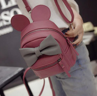 Wholesale Leather Backpack Camping - Mickey backpack 2017New Female bag Quality pu leather Women Backpack Mickey ears Sweet girl bow College Wind Travel Shoulder Bag