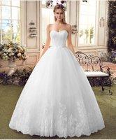 Wholesale Custom Silk Flower Balls - Hot Sale luxury bridal White Wedding Dresses Strapless Beads Rmbriodery Satin A-Line Court Train 2016 Bridal Gown Custom Made