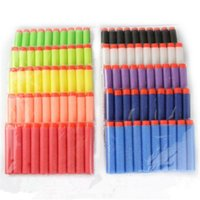 Wholesale Toy Soft Dart Blasters - Wholesale 100Pcs Soft Hollow Hole Head 7.2cm Refill Darts Toy Gun Bullets for Nerf Series Blasters Xmas Kid Children Gift