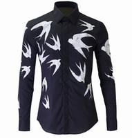 erkekler rahat kıyafetler toptan satış-Toptan-2016 Yeni Bahar Erkek Casual Gömlek Moda Baskılı Şehir Boy Stil Uzun Kollu Elbise Gömlek Erkek Üstleri Camisas Boyutu M-XXXL