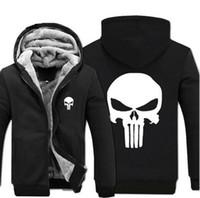 Wholesale Thicken Jacket Hoodies - Wholesale- Anime skull The Punisher hoodies men 2017 spring winter jacket for men fleece thicken men sweatshirts men's coat brand-clothing