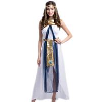 etnik kostüm kadınları toptan satış-Seksi Kleopatra Kostüm Kraliçe Tanrıça Cosplay Kadınlar Kızlar Mısır Cadılar Bayramı Kostüm Etnik Giyim