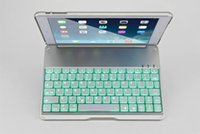 Wholesale Ipad Lithium Keyboards - Aluminum Bluetooth Keyboard Cover Case with 7 Color Backlight Backlit Wireless Bluetooth Keyboard lithium Battery For ipad pro 9.7 Ipad air2