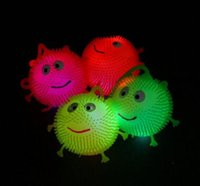 Wholesale soft led balls - 4 colors flash LED bouncy balls glowing smile soft rubber ball toy luminous for party supplies jump fluffy ball toys