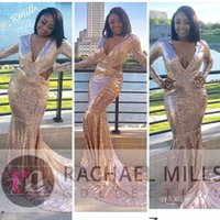 Wholesale girls robe 12 - Gold Sequined Mermaid Prom Party Dress 2017 Sexy African Black Girl 2K18 Long Sleeve Robe De Soiree Formal Evening Gowns Vestido De Festa