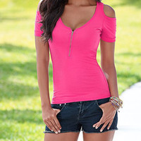 Wholesale Wholesale Off Shoulder Tees - Wholesale- Fashion 2016 Summer Women Ladies Sexy Zip V Neck Short Sleeve Cold Shoulder Tops Off Shoulder T Shirt Casual Cotton tee femme Z2