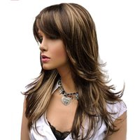 Wholesale wigs long layered - Long Layered Brown Highlights Classic Cap Full Synthetic Wig Women's Wigs