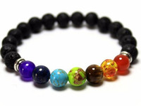 Wholesale Ceramic Bracelets For Men - Mix 7 Color Bracelets Black Natural Lava 7 Chakra Healing Balance 8 mm Beads Bracelet For Men Women Reiki Prayer Stones