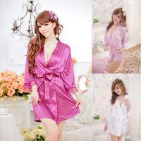 Wholesale Satin Robe G String - Wholesale- The New listing Women Sexy Satin Lace silk Robe Sleepwear Lingerie Nightdress G-string Pajamas bathrobe dressing gown wholesale