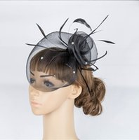 Wholesale Wedding Birdcage For Sale - Free Shipping Hot Sale black Birdcage Net Wedding& Events Bridal Fascinator Hats Face Veil Feather black Flower for party accessories MYQ043