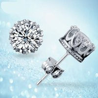 Band New Bridal Crown Wedding Stud Earring 2017 Novo 925 Sterling Silver CZ Simulated Diamonds Engagement Beautiful Jewelry Crystal Ear Rings
