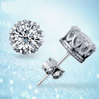 Band New Nupcial Crown Wedding Stud pendiente 2017 nuevo <b>925 Sterling Silver CZ</b> Diamantes simulados Compromiso hermosa joyería Crystal Ear Rings
