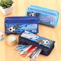 Wholesale Layer School Bags - boys large capacity football design Oxford Multifunctional Pencil Bag Durable Pencil Case Multi-Layer children student school Storage pouch