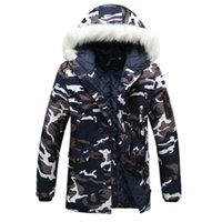 Wholesale Winter Jacket Fur Wadded - Wholesale- Winter parka men Thicken Lovers wadded jacket Camouflage large fur collar cotton-padded jacket outerwear Free shipping M- 3XL