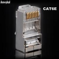 Wholesale rj45 modular - Amvykal High Quality RJ-45 8P8C Network CAT6E Metal Shield Modular Plug Connector RJ45 CAT6 Ethernet Network Modular Plug Adapter