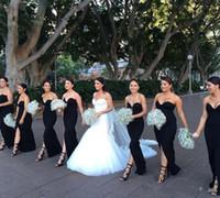 estilo formal simple vestido al por mayor-Estilo simple vestidos de dama de honor negros largos 2017 Lycra sexy dividir medio vestido de noche vaina sin respaldo formal bodas vestido de huésped