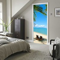 Wholesale White Beach Painting - Custom Photo Wallpaper Murals 3D DIY Blue Sky White Clouds Beach Coconut Trees Wall Painting PVC Door Mural Sticker Home Decor
